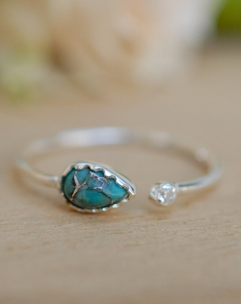 Copper Turquoise Ring * Sterling Silver 925* Adjustable * Gemstone * Handmade * Natural * Organic Ring * Ocean Casual *  BJR038