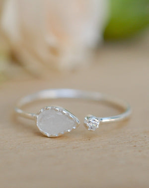 Moonstone Ring *Sterling Silver * Adjustable * Statement * Gemstone* White* Handmade*Gift for Her*June Birthstone BJR040