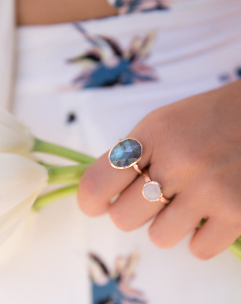 Rainbow Moonstone Rose Gold Ring * Boho * Organic * handmade * Gypsy * Bridesmaid* Solitaire * Bridal * BJR211