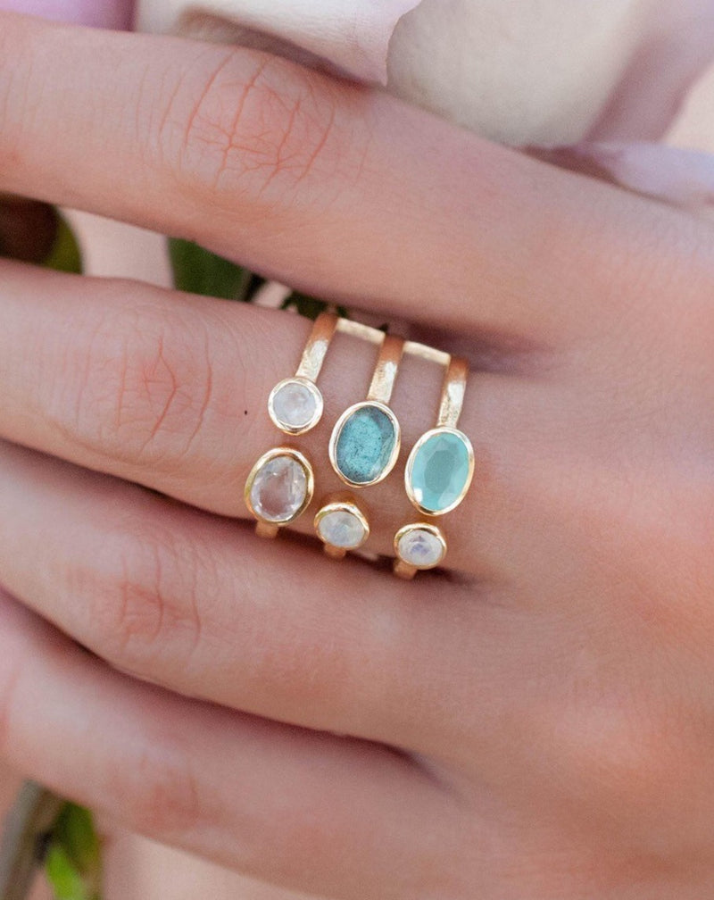 SALE Gemstones Gold Ring * Statement Birthstone* Gold Vermeil Ring * Amethyst * Labradorite * Moonstone * Teal Chalcedony * Aqua*BJR090