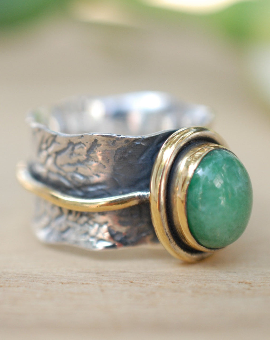 Emerald ring * Sterling silver ring * Gold Vermeil ring * Wide ring * Handmade ring * Wave band ring * Gemstone* Green Stone BJR207