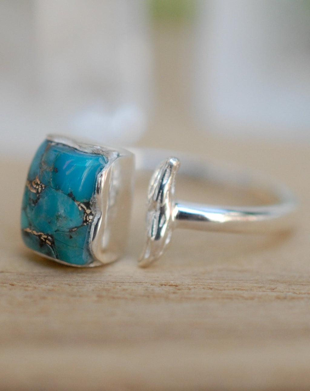 Copper Turquoise Ring * Sterling Silver 925 * Adjustable * Bridal * Wedding * Wrap * Boho * Jewelry *Gemstone *Mermaid *Blue* BJR095