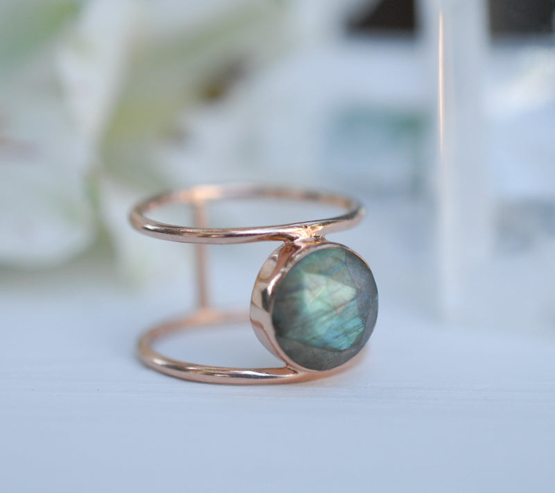 Labradorite Rose Gold Ring * Statement Ring * Gemstone Ring * Labradorite * Bridal Ring * Wedding Ring * Organic Ring * Natural * BJR006