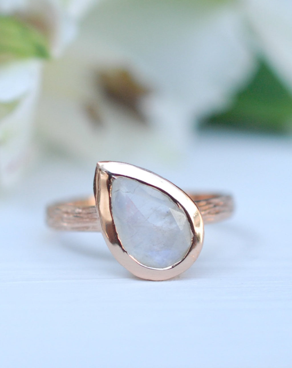 Rainbow Moonstone Rose Gold Ring * Boho * Organic * handmade * Gypsy * Bridesmaid* Solitaire * Tear Drop Ring *Bridal * BJR213