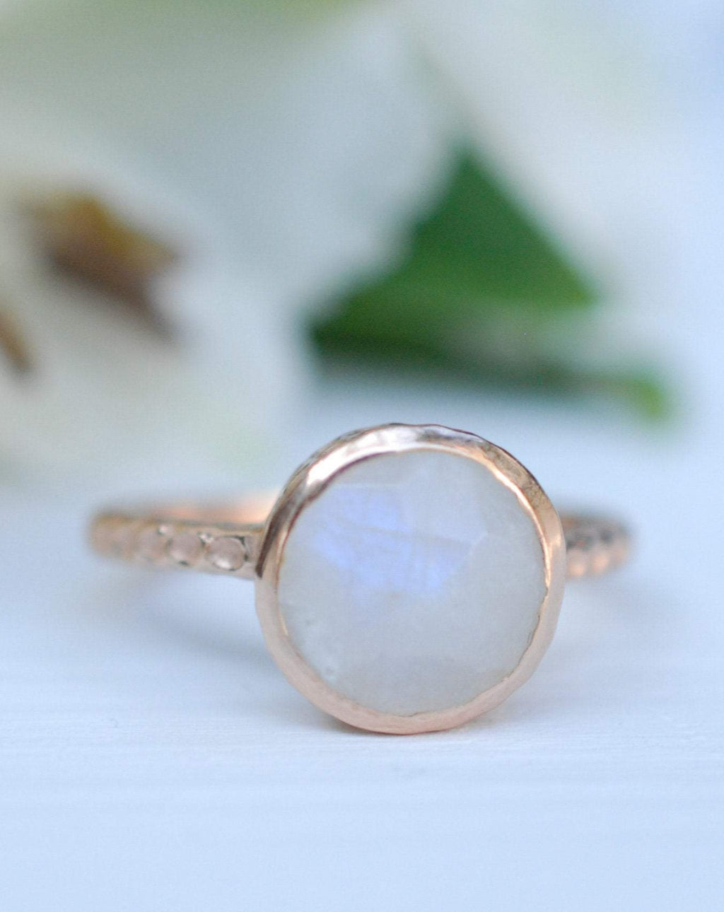 Rainbow Moonstone Rose Gold Ring * Boho * Organic * handmade * Gypsy * Bridesmaid* Solitaire * Bridal * BJR216