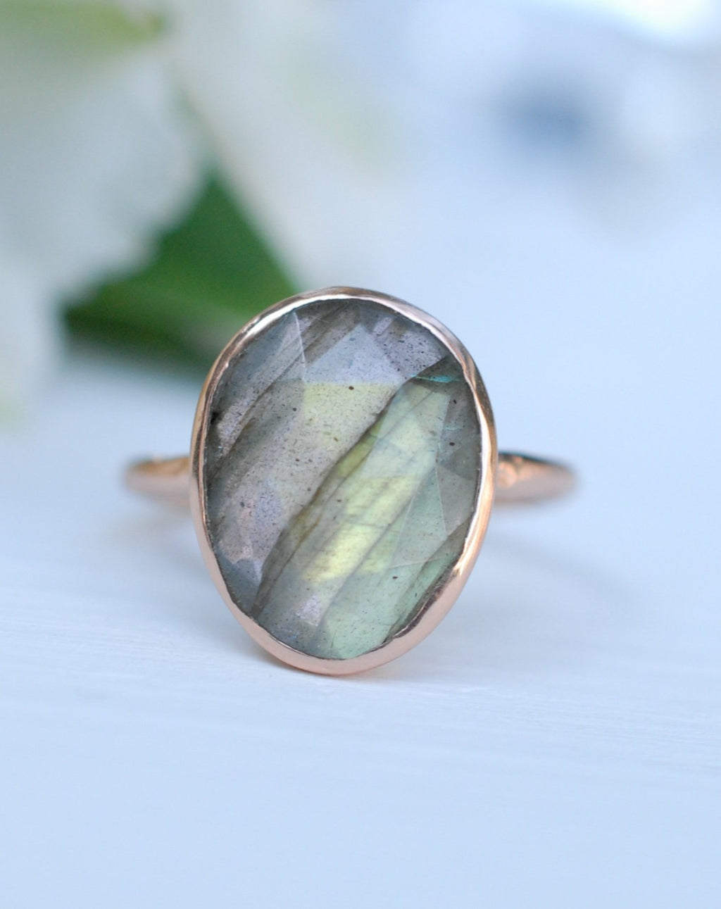 Rainbow Labradorite Rose Gold Ring * Boho * Organic * handmade * Gypsy * Bridesmaid* Solitaire * Bridal * Gift for her * BJR068