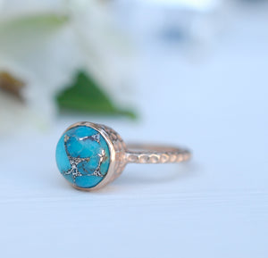 Copper Turquoise Rose Gold Ring * Boho * Organic * handmade * Gypsy * Bridesmaid* Solitaire * Bridal * BJR217