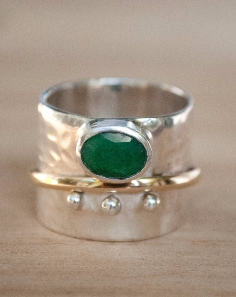 Emerald Ring * Meditation * Spinner * Spinning * Anxiety * Hammered * Worry * Boho * Spin * Thick Band * Sterling Silver * Bronze BJS022
