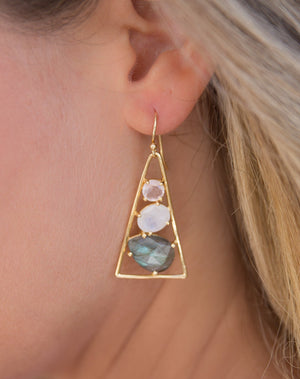Cleo Earrings * Rose Quartz, Moonstone & Labradorite * Gold Plated 18k * BJE096
