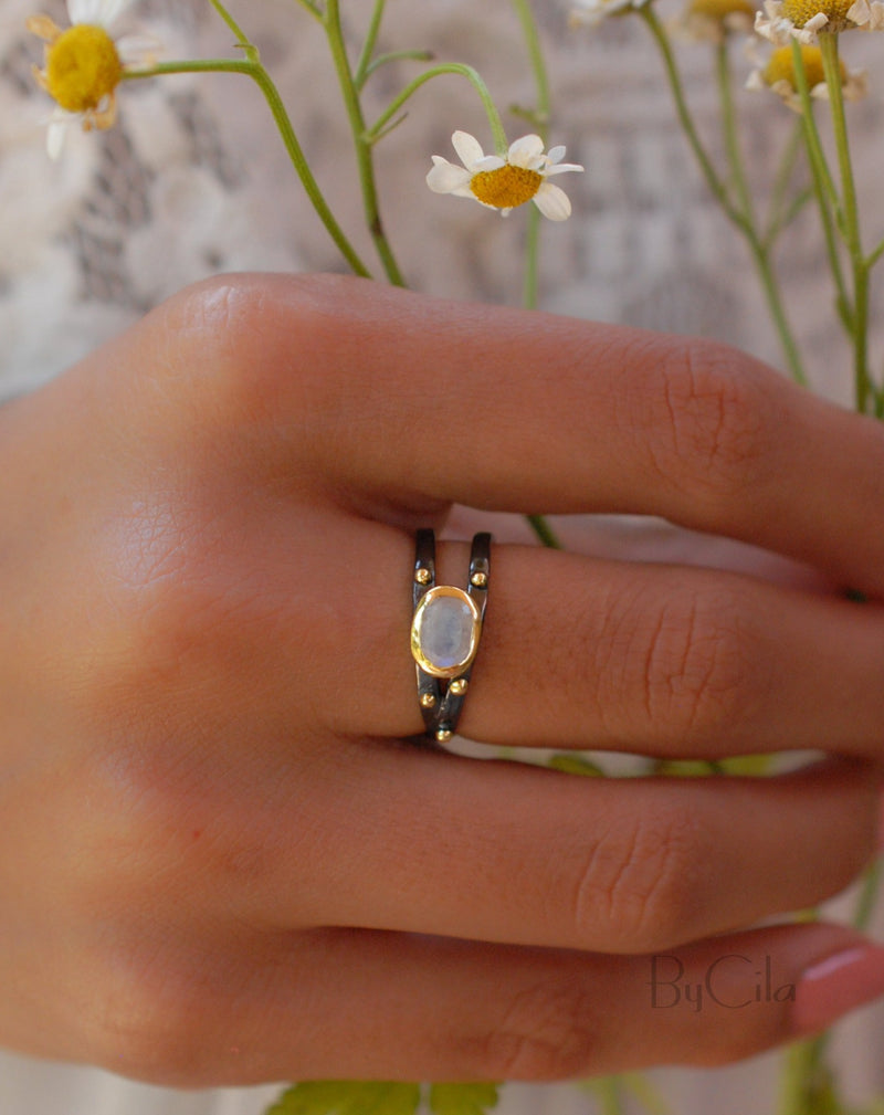 Moonstone Ring * ruthenium plating over brass *  Statement * Gemstone * White * Handmade * Gift for Her * June Birthstone BJR123