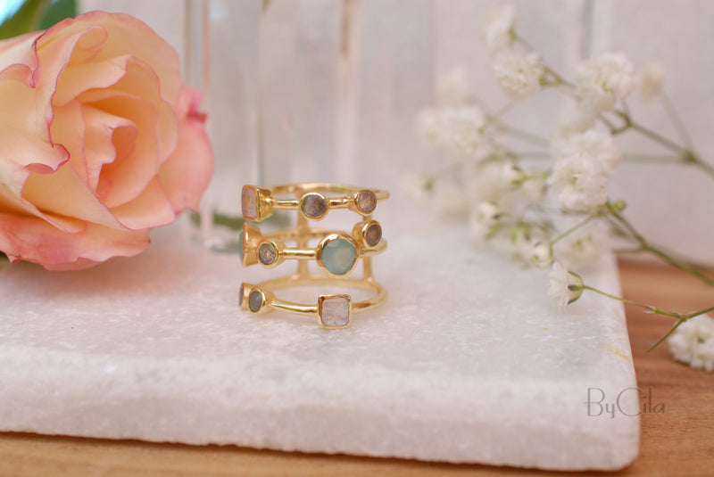 Gemstones Gold Ring * Statement Birthstone* Gold Plated Ring * Labradorite * Moonstone * Teal Chalcedony * Aqua*BJR072