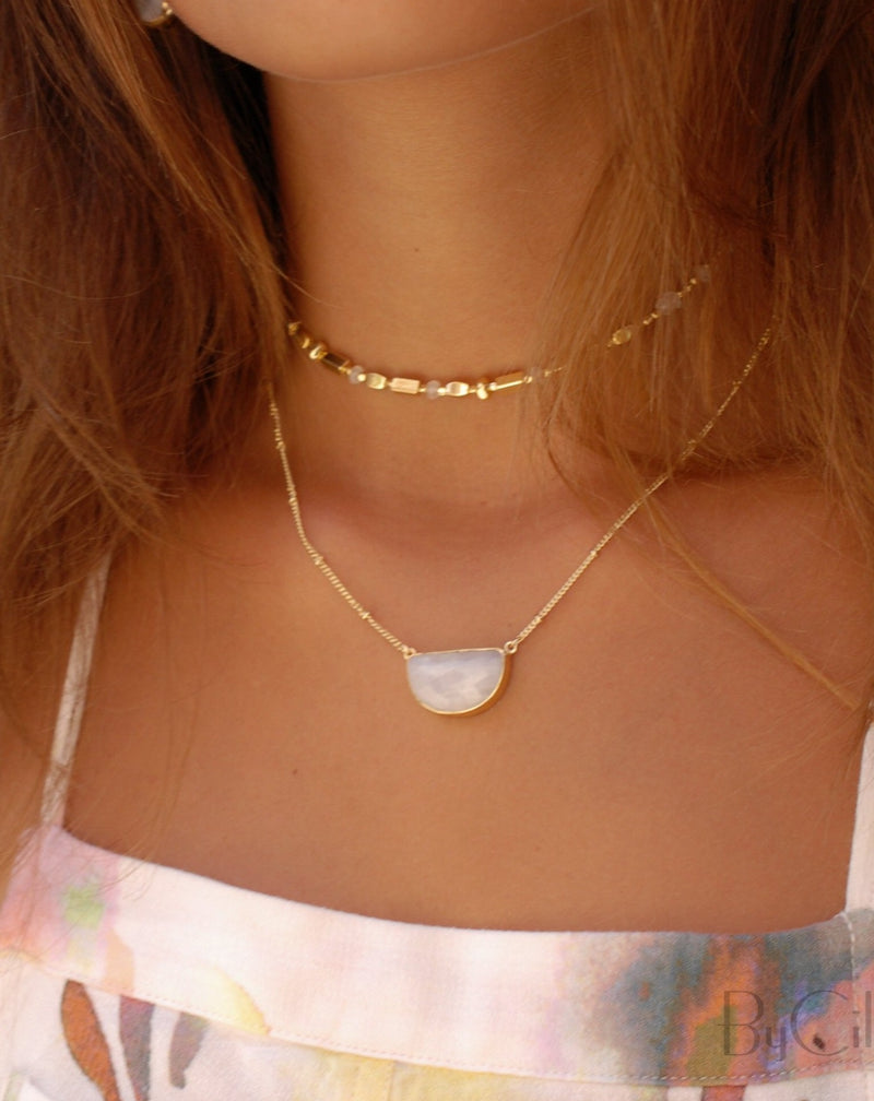 Aurora Choker * Moonstone * Gold Plated, Rose Gold Plated or Silver Plated * BJN013