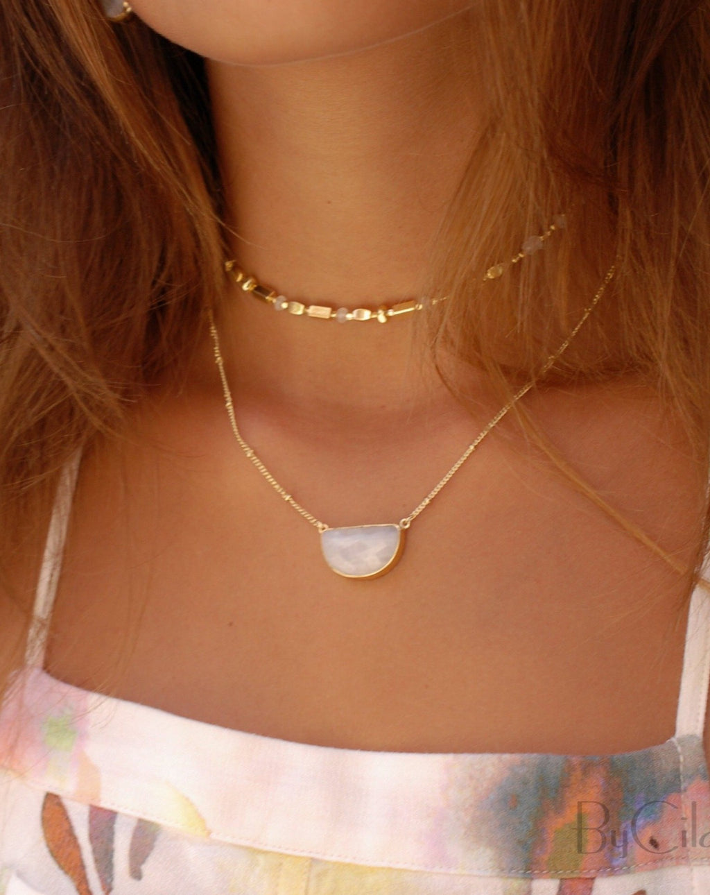 Celeste Half Moon Necklace * Moonstone * Gold Vermeil or Sterling Silver 925 * BJN006