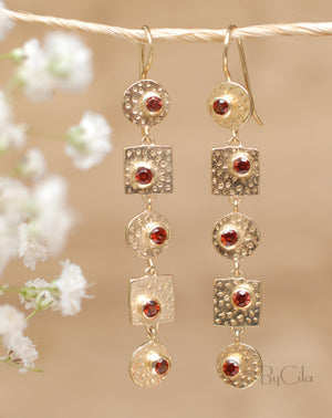 Sonia Earrings * Garnet * Gold Plated 18k * BJE076