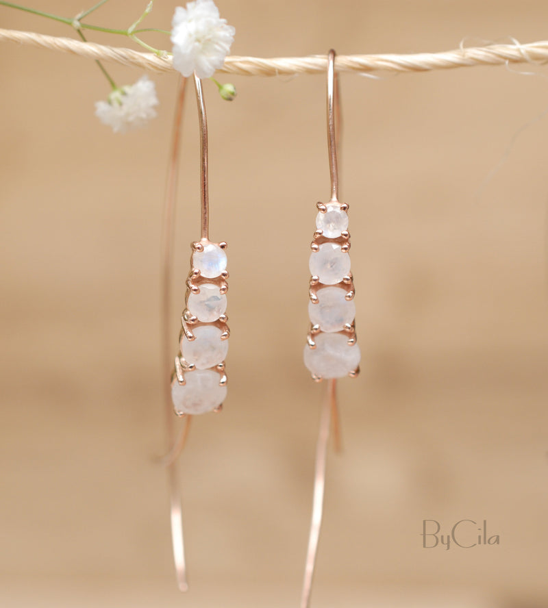 Moonstone Threader Earrings Rose Gold, Gold Vermeil or Sterling Silver * Gemstone * Earrings  Handmade * Modern * ByCila * Modern * BJE029