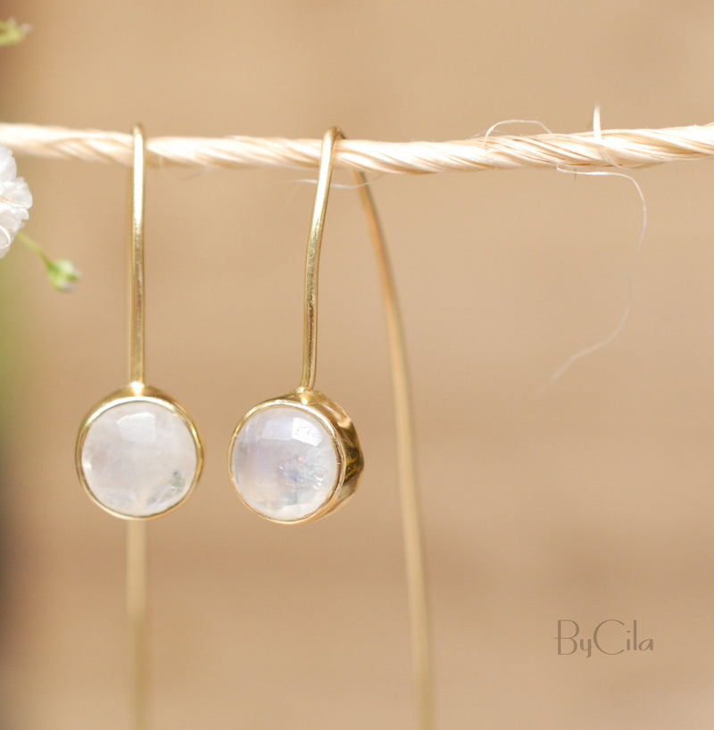 Rainbow Moonstone Gold Plated 18k Threader Earrings * Gemstone * Earrings * Moonstone * Handmade* wedding earrings * Modern * ByCila *BJE053