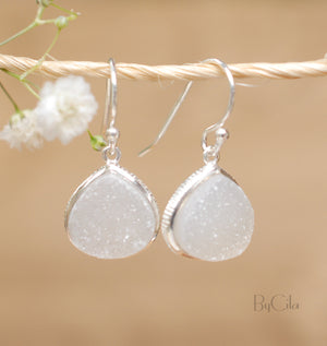 White Druzy Earrings Gold Plated 18k or Sterling Silver 925 * Dangle Earrings * Genuine Stone * Handmade * Delicate * Minimalist * BJE064B