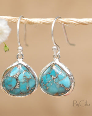 Lihue Earrings * Copper Turquoise * Gold Plated 18k or Sterling Silver 925 * BJE061B