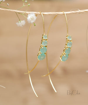 Aqua Chalcedony Gold Vermeil or Rose Gold Vermeil Threader Earrings * Gemstone * Earrings * Handmade * Modern * ByCila *BJE045A