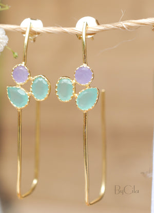 Aqua Chalcedony & Purple Quartz Gold Plated 18k Earrings * Post Earrings * Gemstone * bycilajewelry * Statement  * Every day * Gold * BJE070