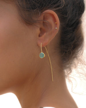 Manuella Earrings * Aqua Chalcedony  * Gold Plated 18k * BJE055