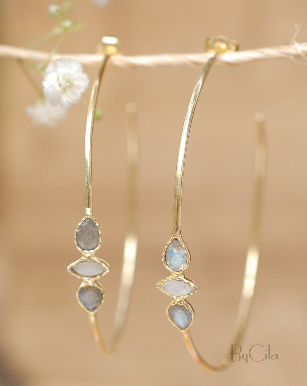 Labradorite & Moonstone Hoop Gold or Silver Earrings * Gemstone * Stud* Post* Labradorite *Handmade * Boho * Modern * ByCila * Loop* BJE016A