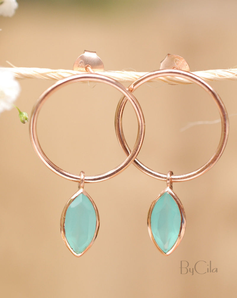 Agatha  Earrings * Aqua Chalcedony * Rose Gold Plated  or Gold Plated * BJE081C