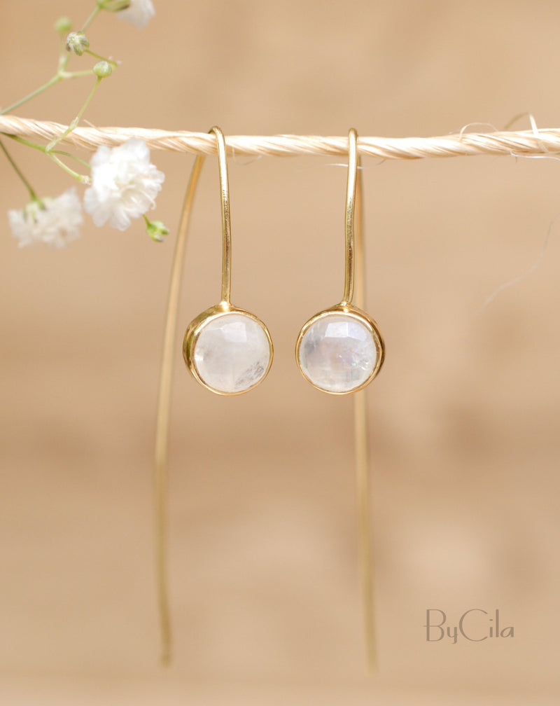 Manuella Earrings * Rainbow Moonstone * Gold Plated 18k * BJE053