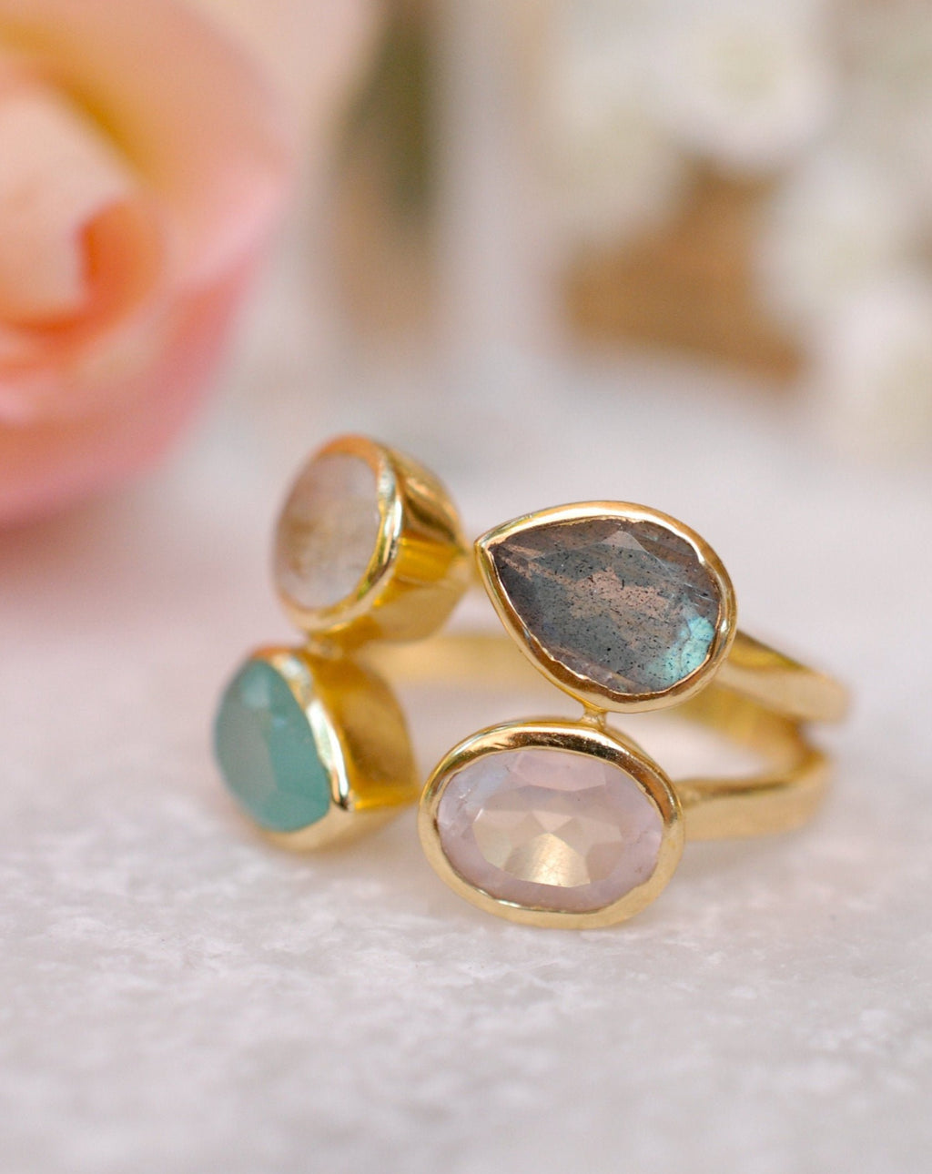 Gemstones Gold Ring* Moonstone, Aqua Chalcedony, Labradorite & Rose Quartz * Statement Birthstone* Gold Plated Ring * Multi stones BJR062