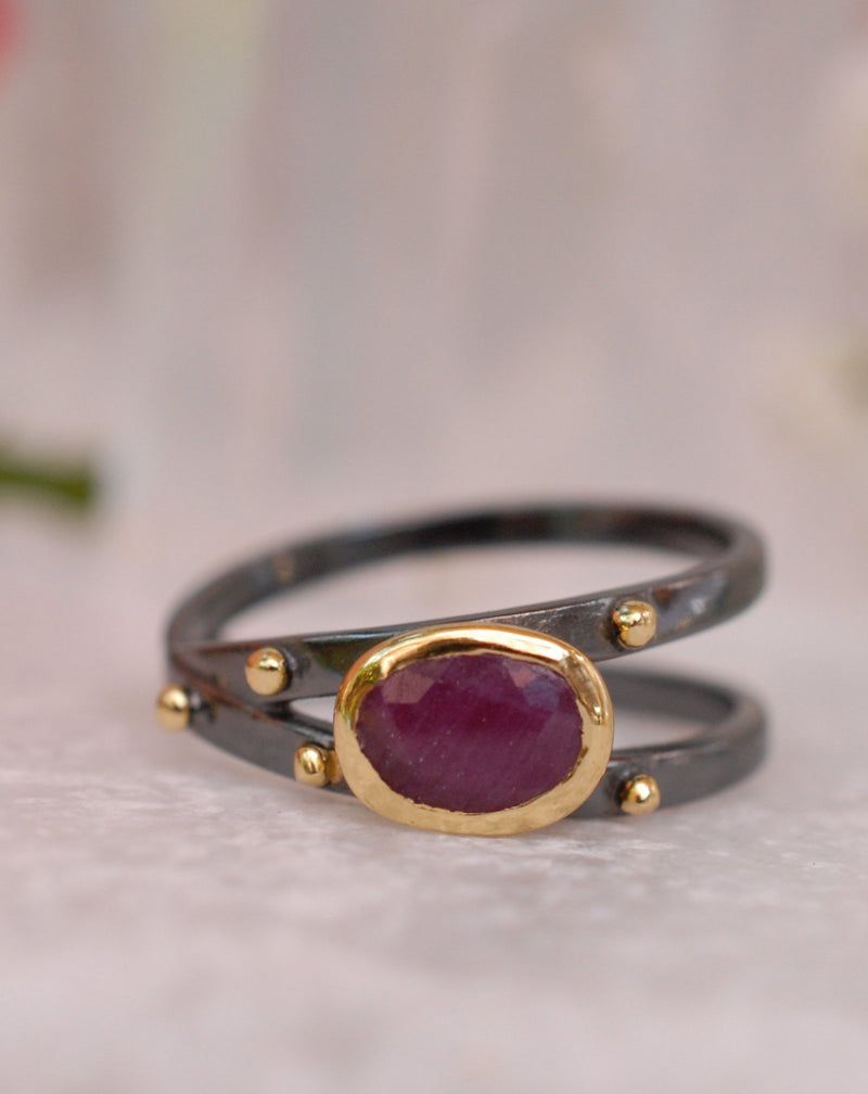 Ruby Ring * Ruthenium plating* Statement Ring * Gemstone Ring * Boho * Gift for her*  Organic Ring * Red Ring * BJR120