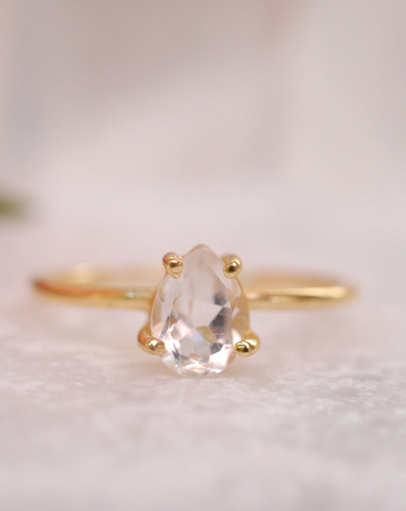 White Topaz Gold Plated Ring * Wedding * Engagement * Handmade * Statement * Bycila *Boho *Hippie * Bridal * Bridesmaid BJR069