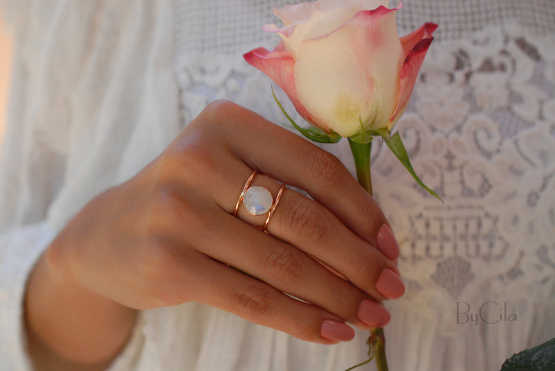 Moonstone Rose Gold Ring * Statement Ring * Gemstone Ring * Rainbow Moonstone * Bridal Ring * Wedding Ring * Organic Ring * Natural * BJR009