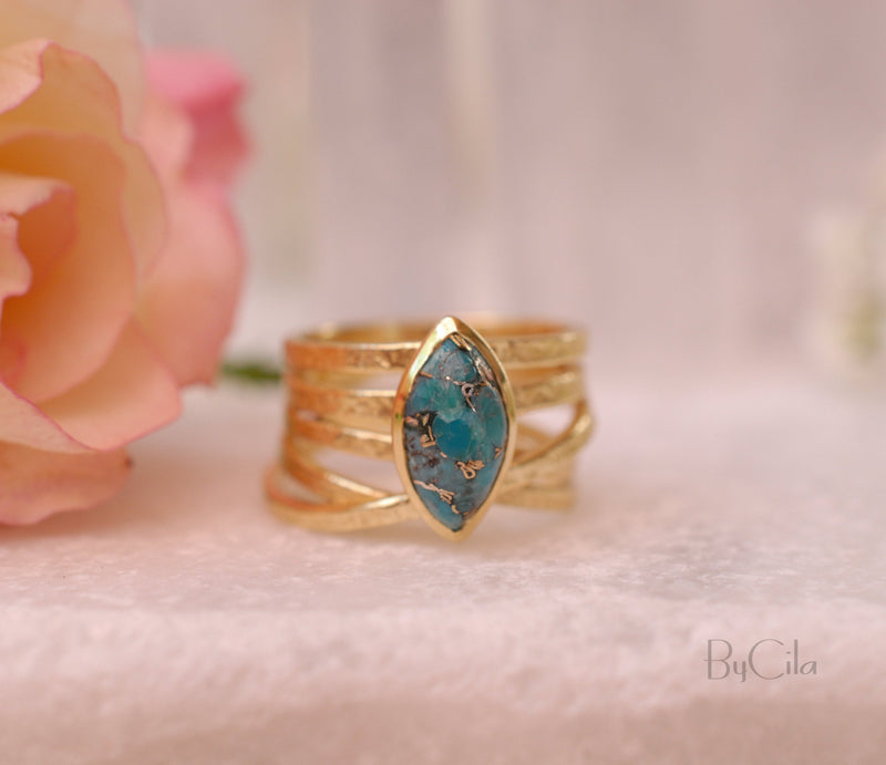Turquoise Gold Plated Ring *Gold Ring *Statement Ring *Gemstone *Copper Turquoise Ring* Natural *Organic Ring * Ocean* Blue Ring *BJR129