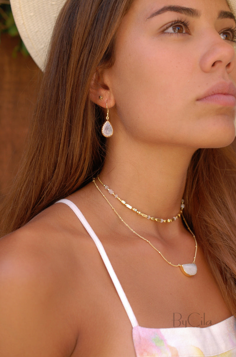 Moonstone Half Moon Necklace * Gold Vermeil or Sterling Silver 925 *Handmade * Layered *Gemstone *Birthstone * Gift for Her *Bohemian*BJN006