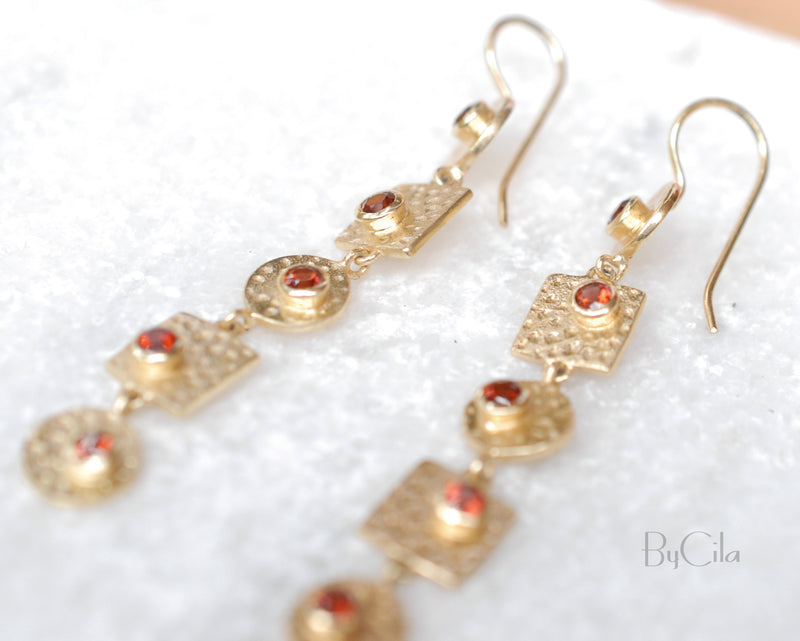 Garnet Earrings Gold Plated 18k * Dangle *Gemstone*Hammered* Statement* bohemian earrings* Every day * ByCila *Boho* Bohemian *Gift * BJE076