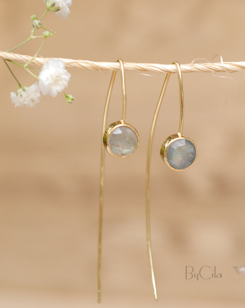 Labradorite Gold Plated 18k hreader Earrings * Gemstone * Earrings * wedding earrings * Labradorite * Handmade * Modern * ByCila * BJE052
