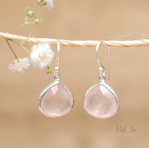 Rose quartz Earrings Gold Plated 18k or Sterling Silver 925 * Dangle Earrings * Gemstone * Handmade * Delicate * Minimalist *  BJE065A