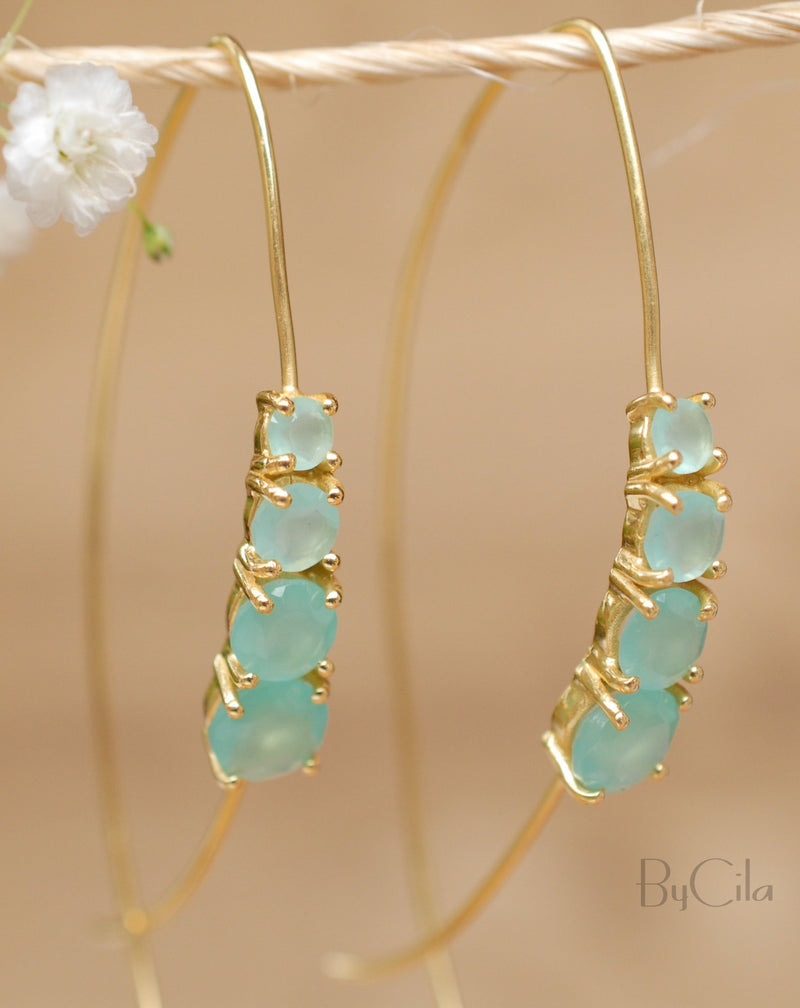 Aja Earrings * Aqua Chalcedony * Gold Vermeil or Rose Gold Vermeil * BJE045A