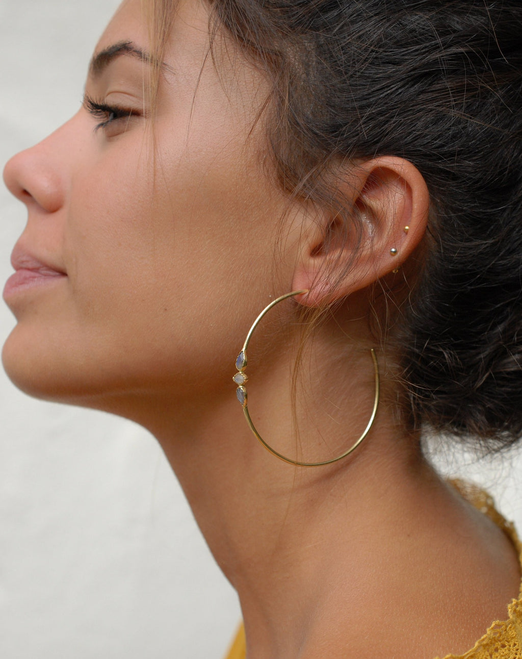 Yeda Hoop Earrings * Rose Quartz & Moonstone * Gold Plated 18k or Silver Plated * BJE015A