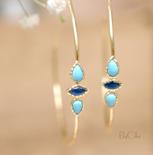 Turquoise & Sapphire Hoop * Gold Plated 18k or Silver Plated * Earrings * Gold Hoop* ByCila *  Handmade *Boho * Stud* Post Modern * BJE018A