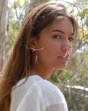 Yeda Hoop Earrings * Copper Turquoise & Moonstone * Gold Plated 18k or Silver Plated * BJE017A