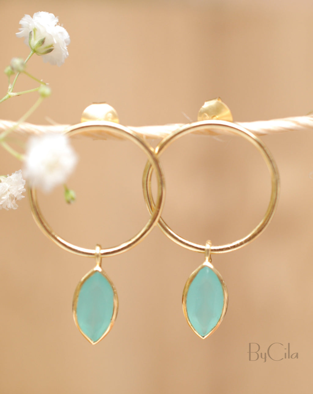 Agatha Earrings * Aqua Chalcedony * Gold Plated or Rose Gold Plated * BJE081A