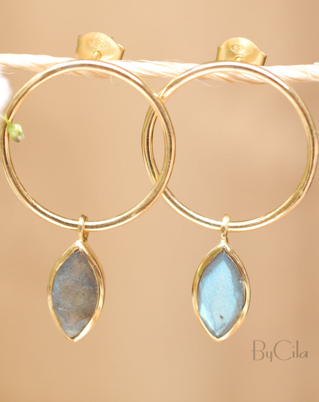 Agatha Earrings * Labradorite * Gold Plated or Rose Gold Plated * BJE079A