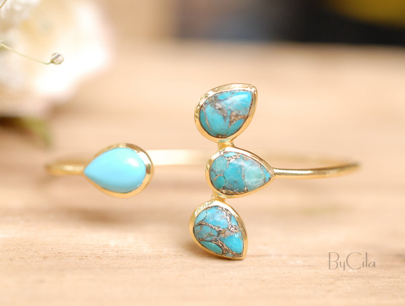 Copper Turquoise Bangle Bracelet * Gold or Silver Plated * Gemstone * Lotus Flower * Adjustable * Statement * Stacking * Layering* BJB018A