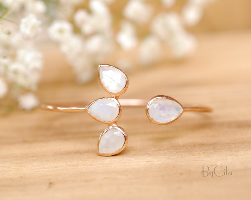 Moonstone Bangle Bracelet * Gold Plated, Rose Gold and Silver Plated * Gemstone * Lotus Flower * Adjustable *Statement * BJB020B