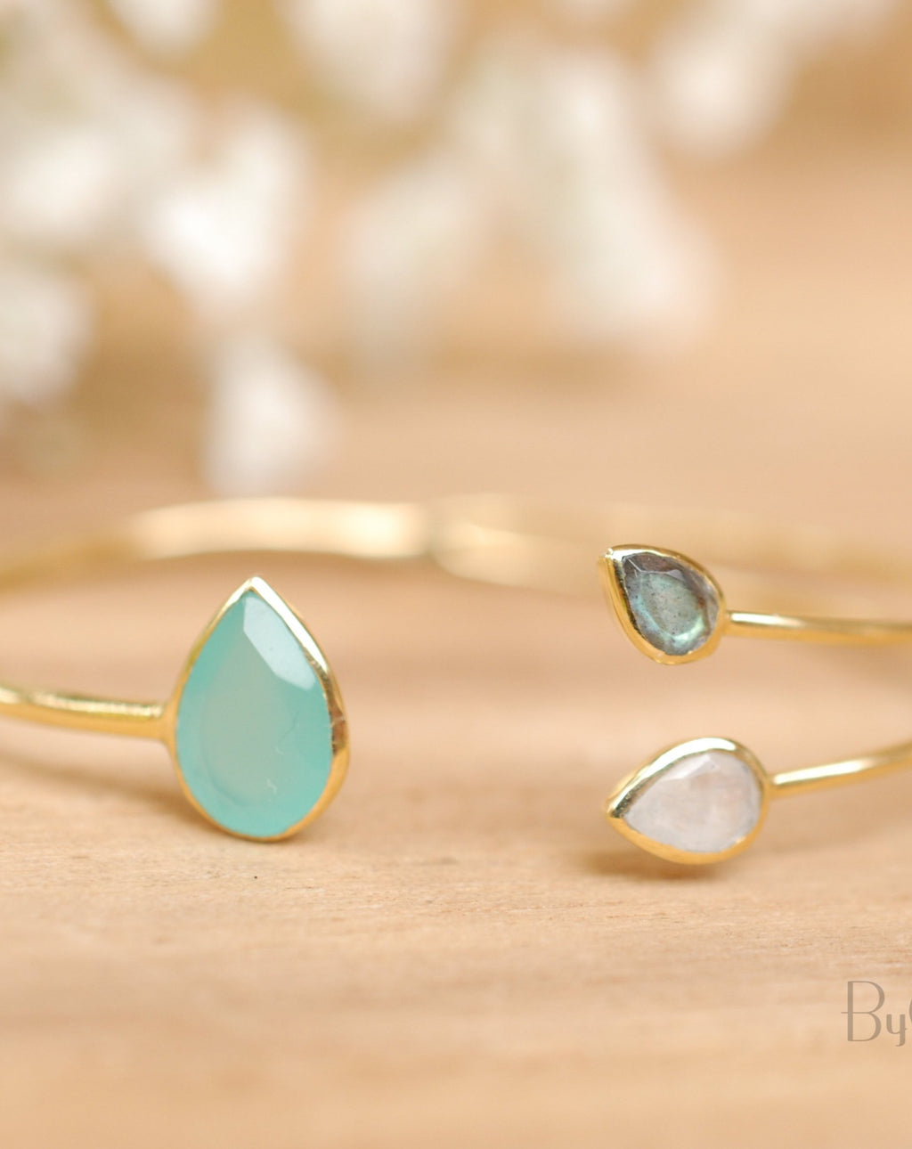 Aqua Chalcedony,Labradorite & Moonstone Bangle Bracelet * Gold Plated or Silver Plated* Gemstone * Adjustable * Stacking *Layering BJB023A