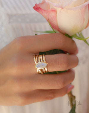 Moonstone Gold Plated Ring *  Statement Ring * Gemstone Ring * Rainbow Moonstone * Gold Ring  * BJR128