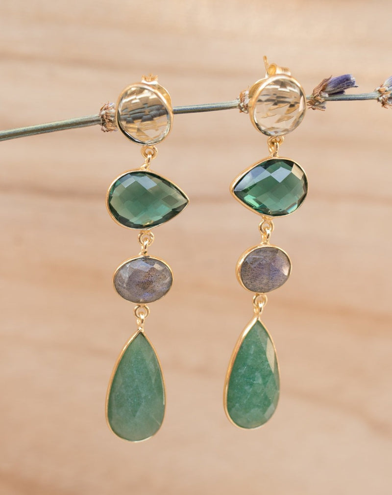 Bela Liz Earrings * Topaz, Green Tourmaline Hydro, Labradorite & Aventurine * Gold Plated 18k * BJE089