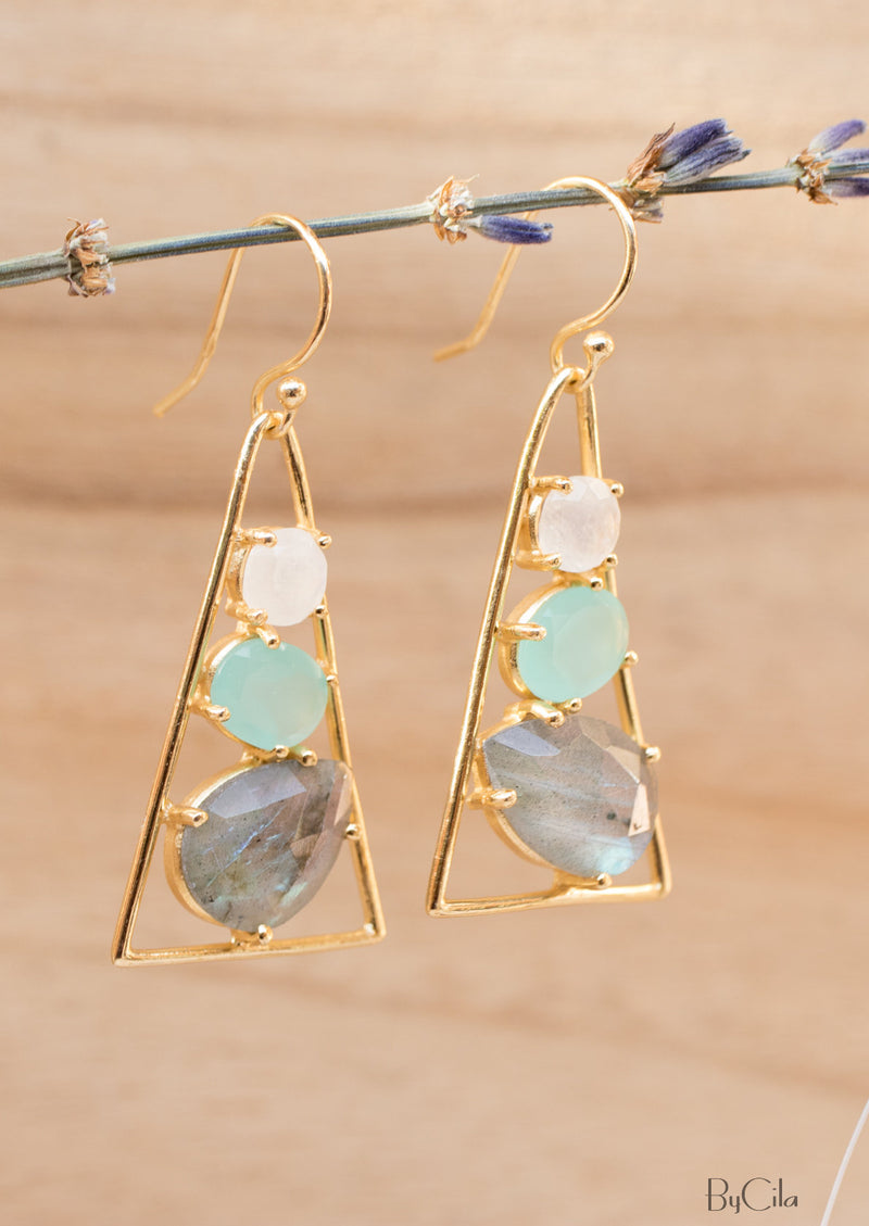 Moonstone, Aqua chalcedony & Labradorite Triangle Earrings 18k Gold Plated* Gemstone * Earrings* Dangle * Drop * Handmade * Boho * BJE100
