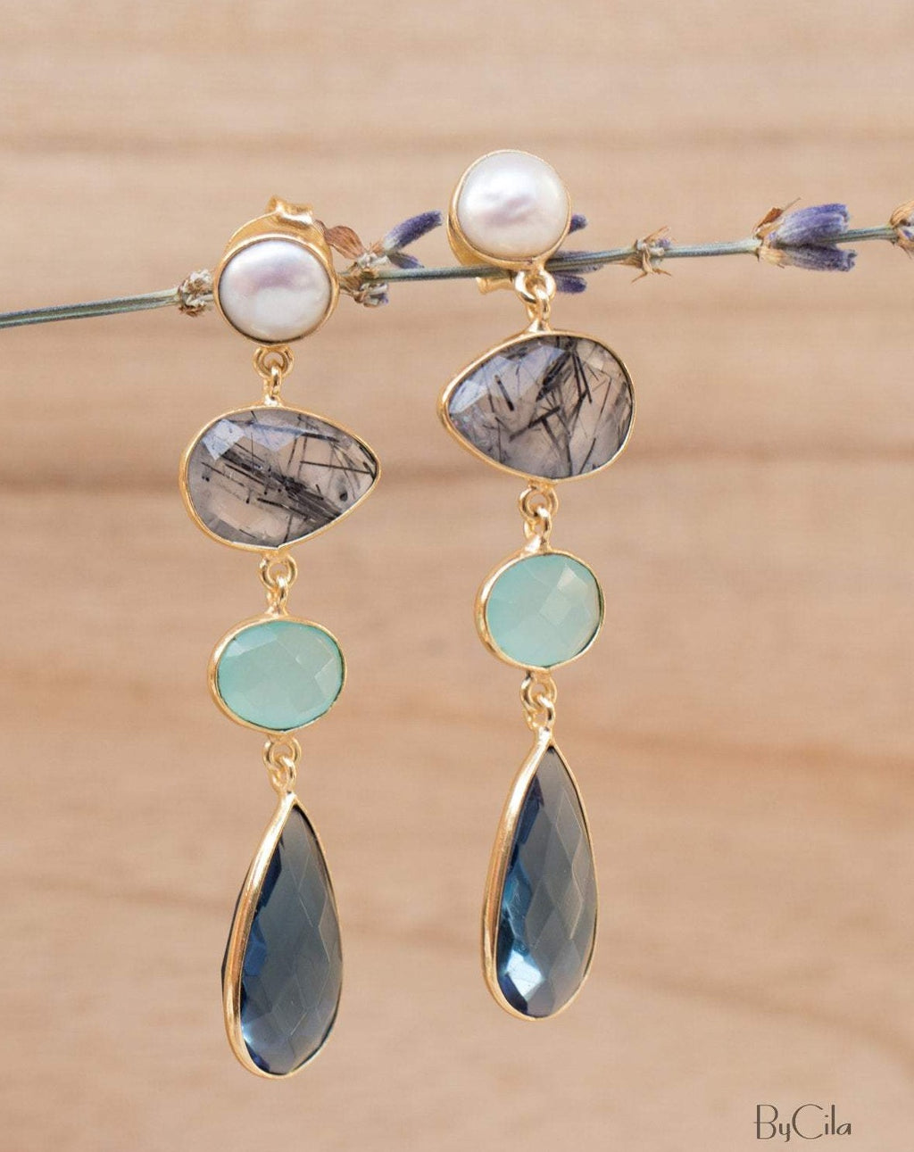 Bela Liz Earrings * Pearl, Black Tourmaline Quartz, Aqua Chalcedony & Iolite hydro * Gold Plated 18k * BJE088
